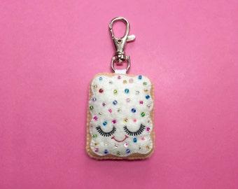 Pop Tart Keychain - Cute Bag Charm - Cute Keyring  - Toaster Pastry Charm - Kawaii Plush -  Bag Charm - Cute Food Gifts - Cute Keychain