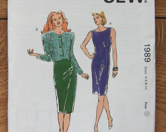 Vintage 1990 Kwik Sew pattern 1989 Misses Dress and Jacket sz 4-6-8-10 uncut
