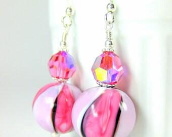 Pink Light Pink & Black Striped Murano Glass Earrings, Pastel Earrings, Round Drop Earrings, Venetian Murano Earrings, Italian Glass Jewelry