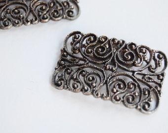Vintage Metal Filigree Shoe Clips