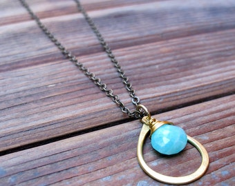 Sundrop - Amazonite Necklace - Semi Precious Stone and Brass Teardrop Necklace - Artisan Tangleweeds Jewelry
