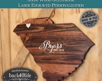 Premium Solid Wood State Cutout Wedding Guestbook (W-074)