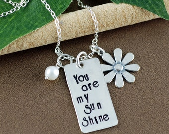 You are my Sunshine Personalized Necklace | Sunshine Necklace | Hand Stamped Jewelry | Gift for Mom | Gift for Her | Gift for Daughter