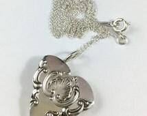 Heart Necklace, Spoon Heart Necklace, Ornate Heart Necklace, Spoon necklace, Spoon Jewelry, Wife Gift, Girlfriend Gift, Heart Charm