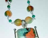 RESERVED FOR SUZANNE       Sonora Sunrise 925 Sterling Silver Pendant with Green and Orange Agate