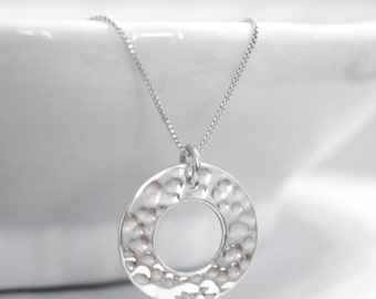 Sterling Silver Ring Necklace, Sterling Silver Disc Necklace, Sterling Silver Nekclace, Hammered Circle Necklace