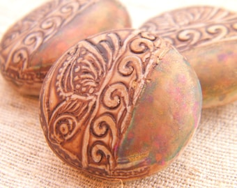 ONLY ONES Tan and Golden Peacock - Resting Butterfly Round Bead - handpainted polymer clay butterfly rustic boho chic (ready to ship)