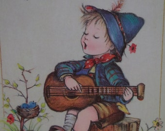 Cute Little Hummel Girls-Braiding Hair-Colorful Vintage Birthday Card-1989