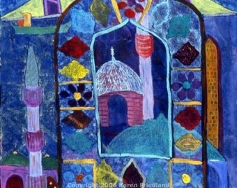 ABSTRACT Landscape Cityscape GICLEE PRINT Fauvist Fine Art Blue Mosque Acrylic Painting Turkey Stained Glass Made 2 Order Wall Decor Large