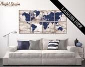 EXTRA Large Vintage World Map Artwork - Custom Made Map Prints on Dark Wood Panels 32x64