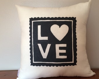 Love Stamp Valentine Pillow