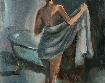 Giclee print of Original Oil Painting, Impressionist painting, woman, figure art, romantic art, bather 8x10