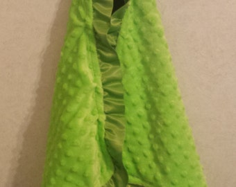Baby Security Blanket Lovie Lovey Brown Satin Ruffle Lime Green Minky 20x20