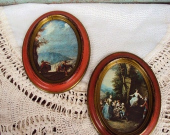 Vintage Italian Picture Set Pair Wall Plaque Hanging Italy Victorian Style Oval Frames Mid Century