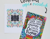 Oops/Overstock Summer SALE APS15 - You are enough + She stopped making excuses and started making progress 5x7 art print set