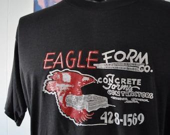 Insane Burnout Tee 80s Vintage Tshirt Tee Distressed Falcon Hawk Shirt XL LARGE