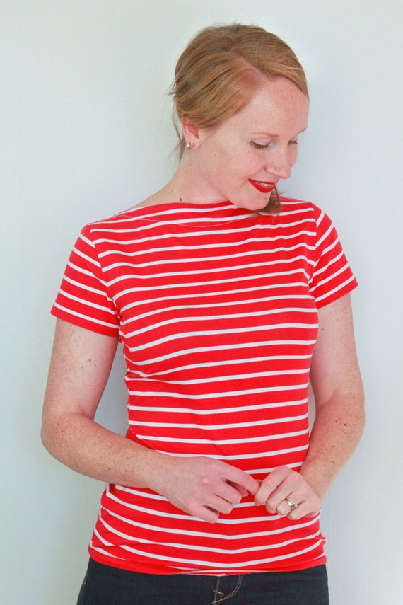 The Gable Knit Top Slash Neckline Women's PDF Sewing Pattern Size 6 to 24
