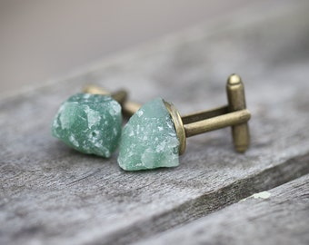 Raw Mint Green Aventurine Men Cufflinks OOAK rough pastel tribal cuff links for him groomsmen gift rustic organic design