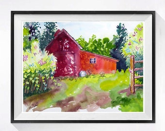 Red Barn Landscape watercolor print, Old barn red wall art, Farmland watercolor painting Landscape painting Watercolour tree artwork Red