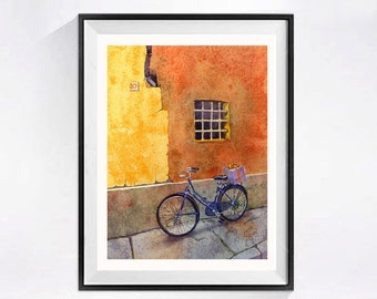 Watercolor Bike Bicycle Art Print Bikes Bicycles Italian window art Windows in Italy Wall art old french windows Orange art print