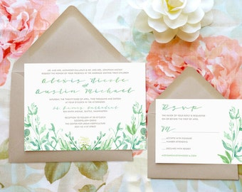 Spring Greenery Watercolor Wedding Invitations - Watercolor Wedding - Nature Wedding - Spring Wedding - Garden Wedding
