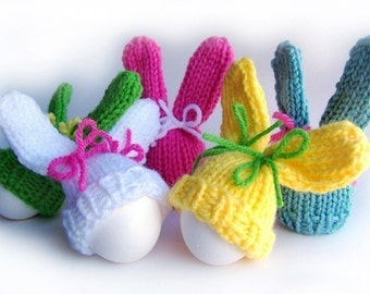 Easter Bunny Knitting Pattern, Easter Patterns, Bunny Pattern, Easter Knitting Pattern, Easter Egg Cozy Pattern, Egg Hat Pattern, Egg Warmer
