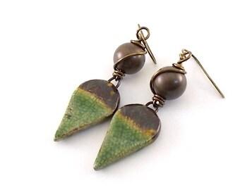 Rustic Green and Brown Earrings - Ceramic Earrings - Artisan Earrings - Boho Earrings - Antique Brass Earrings - Bronze Earrings - AE100