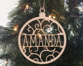 Personalized Wood Christmas Ornament Wedding Gift Bridal Shower Christmas Present First Christmas (NVMHDAY1007)
