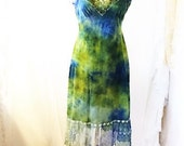 Medium Green Earth Romantic Dress/Maxi Dress/Couture/Paris Fashion/Tie Dye Slip Dress/Green Maxi Dress/Music Festival Wear/Green Goddess