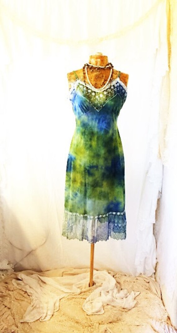 Medium Green Earth Romantic Dress/Maxi Dress/Couture/Paris Fashion/Tie Dye Slip Dress/Green Maxi Dress/Music Festival Wear/Green Goddess
