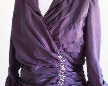 vintage 20s dress, 90s does 20s, vintage purple dress, 20s costume, 1920s dress, exeptional cut and drapery, shimmery fabric