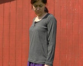 Womens Jersey Knit Yoked Button Top Long Sleeves Made in the USA - Handmade to Order -Maple
