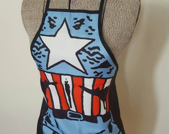 Captain America Novelty Apron - Marvel - Superhero - Geeky - Kitchen - BBQ