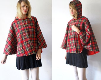 Plaid cape coat. 70s wool cape. short hooded cape - one size