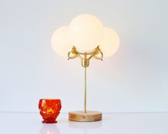 Modern Table Lamp, 3 White Glass Globes, Industrial Brass and Wood Desk Lamp