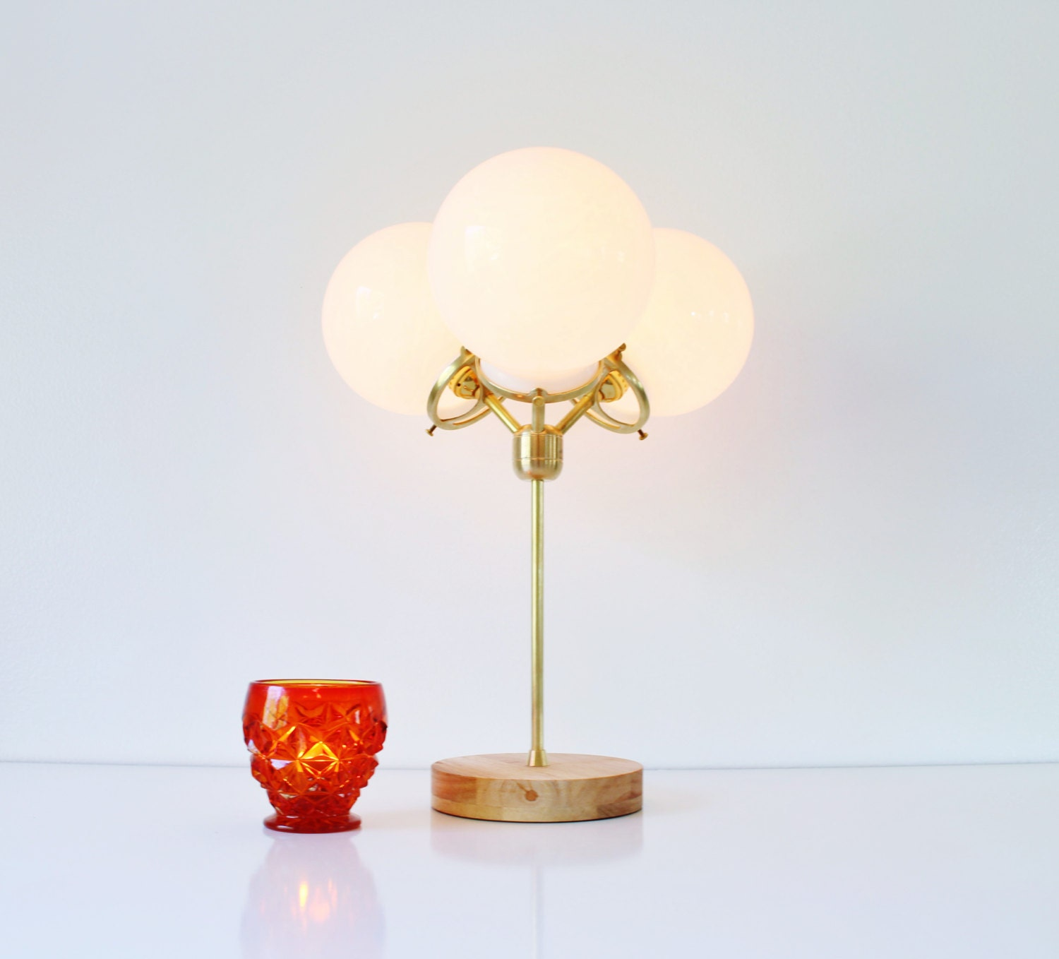 modern table lamp 3 white glass globes industrial brass and. Black Bedroom Furniture Sets. Home Design Ideas