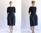 RESERVED payment 1 of 2 vintage 1950s 1960s dress navy 50s cocktail dress