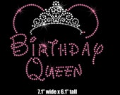 """7.1"""" Minnie Mouse birthday Queen tiara iron on rhinestone transfer your color choice"""