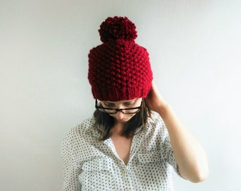 Slouchy Knit Hat // Slouchy Hat // Chunky Knit Hat // Pom Pom Hat // Red Hat