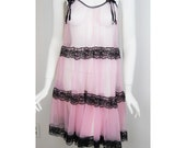 ON HOLD//////// VTG 60s Pink Lace Sheer Dress Night Gown Nightie Babydoll