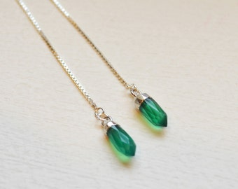 Long and Lean Gemstone Point Threader Earrings, Sterling Silver Threaders, Gemstone Threaders, Modern