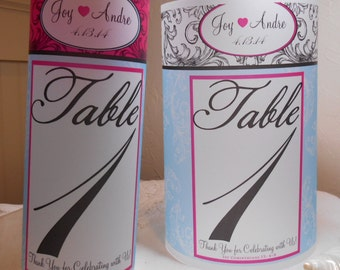 Table Numbers - Luminary - Centerpiece Luminaries for Beach Weddings & Formal Events - Table Numbers - Unity Candles - 10 luminary