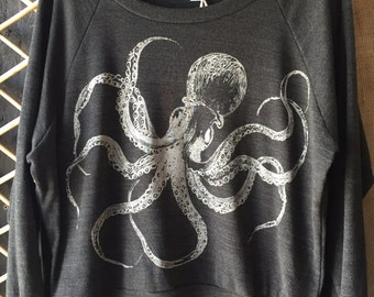 Kraken Octopus Slouchy Raglan T-Shirt American Apparel Black Tri-Blend   S  M L