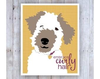 Embrace Curly Hair, Hair Art, Teen Room Decor, Gifts for Teen Girls, Teen Prints, Teen Art, Teen Wall Art, Fun Art, Dog Art, Fox Terrier