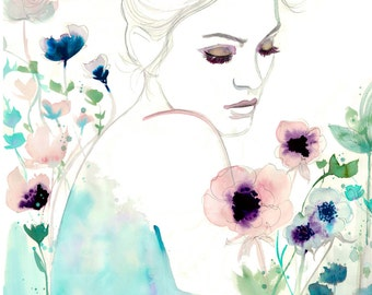 Bloom Where You Are Planted, print from original watercolor and mixed media fashion illustration by Jessica Durrant