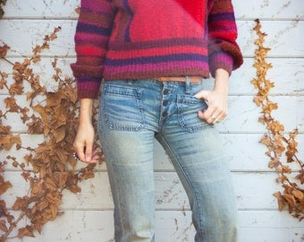 Vintage 80's Cranberry Red FUNNEL NECK Striped Boucle Sweater / Bell Sleeves / Space Dyed / Turtleneck Batwing Jumper