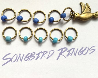 Snag Free ring stitch markers/ringos /knitting - SONGBIRD
