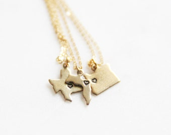 Gold Brass State Necklace, Moving Away Necklace, Friendship Jewelry, Multiple State Necklace, Gold necklace, Friendship Ideas, Wedding