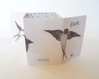 handmade book with swallows, black and white drawing, gift idea as card or home decor, printed illustration cut and fold by hand