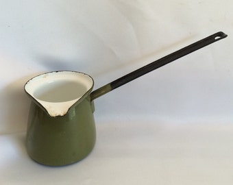Vintage Green Enamel Butter Warmer